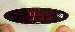 Vågen visar 99,9 kg