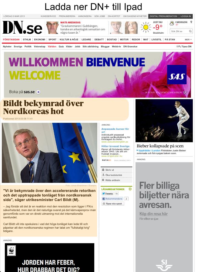 Skärmdump från DN där innehållet dränks i reklam